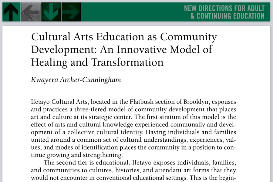 Cultural Arts Education as Community Development: An Innovative Model of Healing and Transformation